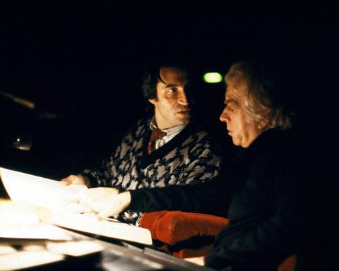 Il regista Giorgio Strehler insieme al maestro Riccardo Muti